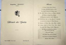 """MENU PAQUEBOT """"FRANCE""""(03/1972) CROISIERE AUTOUR DU MONDE """"CENTENAIRE DU VOYAGE DE PHILEAS FOGG - Menus"""