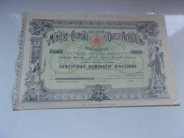 MINIERE ET COLONIALE DE L'OUEST AFRICAIN (certificat) Imprimerie RICHARD - Actions & Titres