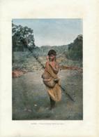 Document (1880) : Australie, Femme Portant Son Enfant, Photographie Aquarellée (Aquarelle), Souvenir De Voyage - Aborigènes