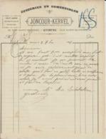 QUIMPER JONCOUR KERVEL EPICERIE COMESTIBLES VINS LIQUEURS SPIRITUEUX FRUITS SEC ESSENCE PETROLE ALCOOL ANNEE 1896 - Frankreich