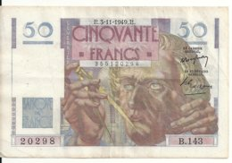FRANCE 50 FRANCS 1949 VF+ P 127 B - 1871-1952 Circulated During XXth