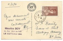 PETAIN 40C BRUN N° 470 SEUL CARTE 5 MOTS LE COTEAU 11.3.1941 AU TARIF RARE - Poststempel (Briefe)