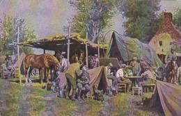 AK Lager Einer Munitionskolonne - Künstlerkarte Paul Hey - Feldpost Grenzüberwachungsstelle Bentheim 1917 (43935) - War 1914-18