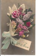 L80b214 - Vive Sainte Marie - Carte Accrochée à Un Joli Bouquet Composé - Coeur N°1354 - Feiern & Feste
