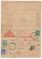 PETAIN 4FR50 SEUL CARTE POSTALE REMBOURSEMENT REC PROVISOIRE LOUHANS SAONE ET LOIRE 1944 + TAXE 1FR+50C - Marcophilie (Lettres)