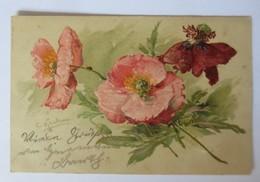 Künstlerkarte,Blumen, Mohnblumen,  1905, C. Klein, Prägekarte ♥ (15975) - Klein, Catharina