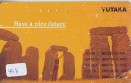 Télécarte Japon * ANGLETERRE * ENGLAND * STONEHENGE *  (458) GREAT BRITAIN RELATED * Phonecard Japan - Paysages