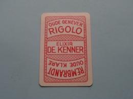 RIGOLO Oude Genever Elixir De Kenner REMBRANDT Oude Klare ( Harten 8 ) ( Details - Zie Foto's Voor En Achter ) ! - Speelkaarten