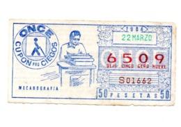 SPAIN CUPÓN DE LA ONCE CIEGOS LOTERÍA LOTTERY 1984 MECANOGRAFÍA TYPING MÁQUINA DE ESCRIBIR TYPEWRITER , VER FOTO/S 22-3 - Lotterielose