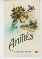 """HONFLEUR - Jolie Carte Fantaisie Fleurs Oeillets """"Amitiés D' HONFLEUR """" - Honfleur"""