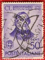 ITALIA REGNO - 1942 - 150° ANNIVERSARIO DELLA NASCITA DI GIOACCHINO ROSSINI - USATO - Used
