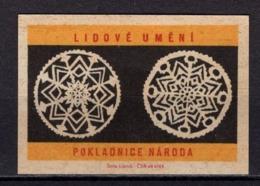 Tschechisches Zuendholzschachteletikett, Volkskunst Deckchen (80309) - Zündholzschachteletiketten