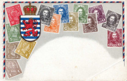 LUXEMBURG, Nice Illustrated Picture Postcard With Stamps, 1910 - Briefmarken (Abbildungen)