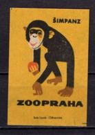 Tschechisches Zuendholzschachteletikett, Schimpanse (80317) - Zündholzschachteletiketten