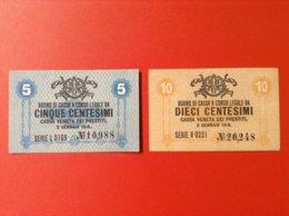 Geldscheine Italien 5 Cinque Und 10 Dieci Centesimi 1918 Cassa Veneta Dei Prestitl - [ 1] …-1946: Königreich