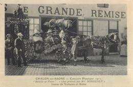 """CHALON-SUR-SAONE CONCOURS HIPPIQUE """"BATAILLE DE FLEURS"""" CHAR PRESENTE PAR MR MOISSENEY ATTELAGE CHEVAL71 - Chalon Sur Saone"""