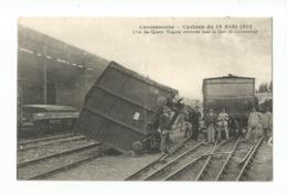 CARCASSONNE  -  Cyclone Du 19 Août 1912 -  L'un Des Quatre Wagons Renversés Dans La Gare De Carcassonne - Carcassonne