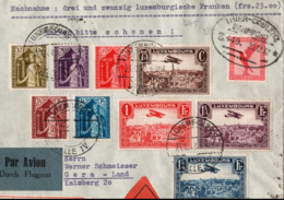 ! 1 Nachnahmebrief Luxemburg, Luxembourg ,1932 Ermesinde Semi-Postal Set Registered Cover Gera Germany, Bahnpost Trier - Covers & Documents
