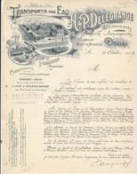 H.ET P. Delegrange , Transport Par Eau ( Péniche ) à Douai , Nord ,courrier Illustré De 1907 - France