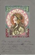 "BELLE CPA GAUFREE STYLE ART NOUVEAU "" FEMME EN MEDAILLON "" , STYLE KIRCHNER MUCHA , 1904 - Illustrateurs & Photographes"