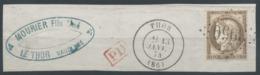 Lot N°51366  Variété/n°56, Oblit GC 3950 Thor, Vaucluse (86), Ind 6, Trait Résiduel Face Au Nez, 30C Relié Au Cadre, Fil - 1871-1875 Ceres