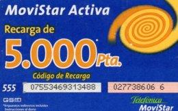 ESPAGNE / CARTE DE RECHARGE TELEFONICA MOVISTAR 5.000 PTAS - Espagne