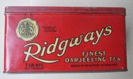 Antique Tin Box RIDGWAYS - FINEST DARJEELING TEA - Made In England ( 16,8 X 10,1 X 8,8 Cm ) - Boxes