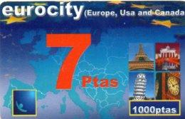 ESPAGNE / CARTE TELEFONICA EUROCITY 7 PTAS - 1000 PTAS - Espagne