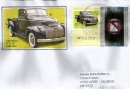 Voiture Chevrolet Pick-up, Année 1946. Lettre Costa-Rica Adressée Mexico - Autos