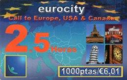 ESPAGNE / CARTE TELEFONICA EUROCITY 2.5 HORAS  - 1000 PTAS / €6,01 - Espagne
