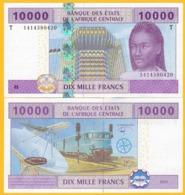 Central African States 10000 (10,000) Francs Rep. Of Congo (T) P-110T 2002 Sign. Tolli & Aleka-Rybert UNC Banknote - États D'Afrique Centrale