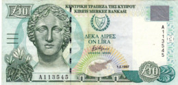 "CYPRUS (GREECE) 10 POUNDS 1-2-1997 VF-EXF P-59 PREFIX ""A"" ""free Shipping Via Registered Air Mail"" - Zypern"