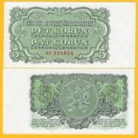 Czechoslovakia 5 Korun P-80b 1953 UNC Banknote - Czechoslovakia