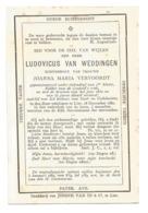 Oud Doodsprentje Ludovicus Van Weddingen Lier 1880 - Santini