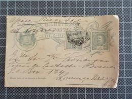 Cx 9) Filatelia Inteiro Postal D. Carlos I 10 Réis + Selo 10 Réis /canto Dobrado E Margins Onduladas - Lettres & Documents
