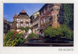 En Alsace - Maisons Typiques Et Fontaine Fleuries - Formato Grande Viaggiata – E 13 - Cartoline
