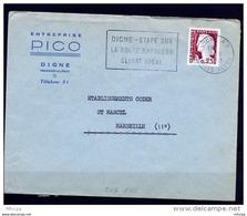 Lil3789 DIGNE RP HAUTES ALPES SECAP DIG105 Digne étape Sur La Route Napoléon /L 04/08/61 - Postmark Collection (Covers)