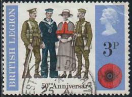 GB 1971 Yv. N°643 - 3p British Legion - Oblitéré - 1952-.... (Elizabeth II)