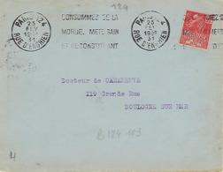 PARIS 127 KRAG 1931 DREYFUSS (B124103) 1994 Cote 80F Consommez De La Morue Mets Sain Et Reconstituant DEVANT SEUL - Marcophilie (Lettres)