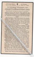 JOSEPH FERDINAND ALBERT JOOS ° LEUVEN 1918 ( WOONPLAATS MOL) + GESNEUVELD OP 'T SLAGVELD TE GELUWE BIJ MENEN 1940 - Devotion Images