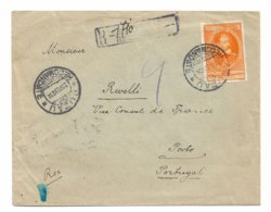 1934 BUZAU ROMANIA TO PORTO PORTUGAL REGISTERED COVER, SPAIN TRANSIT MARKINGS KING FERDINAND STAMP - Brieven En Documenten