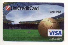 SPECIMEN Credit Card SPORT Football Field Soccer Ball Stadium Bankcard Ukrsotsbank Bank UKRAINE VISA (Not Activated) - Cartes De Crédit (expiration Min. 10 Ans)