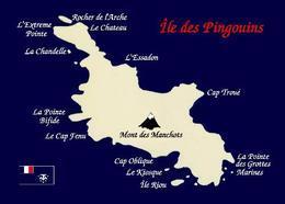 Crozet Islands Penguin Island Map Île Des Pingouins TAAF New Postcard - TAAF : Franse Zuidpoolgewesten