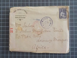 Cx 9) Envelope GRAND HOTEL D'ITALIE Monte Estoril  > Lourenço Marques Portugal Ceres 2,5 Centvs Censurado PASSED CENSOR - 1910-... République