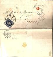LETTRE 1863 - POSTEE A MALAGA - CACHET POSTAL ARRIVEE IRUN (FRONTIERE) EN ROUGE - - Briefe U. Dokumente