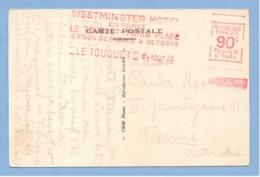 9398 Postcard Overprint Westminster Hotel 90 Centimes 1929 - Francia