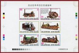 Korea 1983 SC #2310a-d, Collective Deluxe Proof, Train, Locomotives - Trains