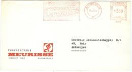 Chocolade/chocolate Meurisse Perrette Wrapper Bar/reep Bear/beer/ours Antwerpen 11.6.1968 3fr B980 - Franking Machines
