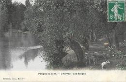 Périgny (Seine-et-Oise) - L'Yèrres, Les Berges, Moutons - Edition Thibault, Semi Aquarelle A. Berger (carte Colorisée) - Perigny