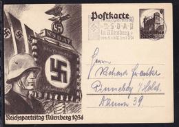 Reichsparteitag 1934 Mit Maschinensonderstempel Nürnberg Nach Pinneberg - Stamped Stationery